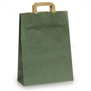 Dark Green Carrier Bags with Flat Handles