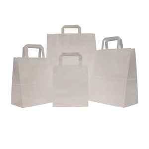 Premium Flat Handle White Paper Carrier Bags