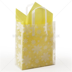 Premium Frosted Daisies Print Plastic Gift Bags