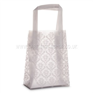 Frosty Damask Print Plastic Carrier Bags