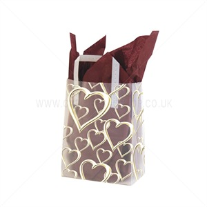 Frosty Gold Hearts Print Plastic Carrier Bags