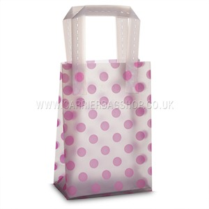 Frosted Pink Dots Print Plastic Carrier Bags