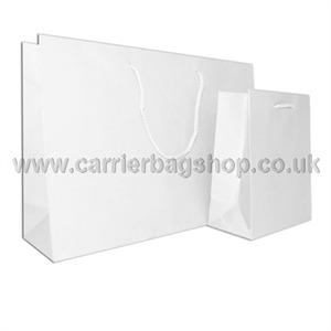 White Gloss Recycled Paper Bags with Rope Handles