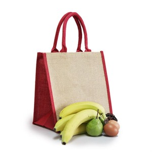 Natural Jute Red Trim Bags with Luxury Padded Handles
