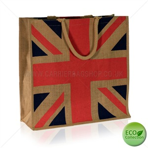 Natural Jute Union Jack Bags with Luxury Padded Handles