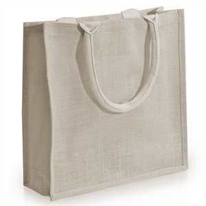 White Jute Bags with Luxury Padded Handles Small