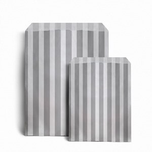 Grey Candy Stripe Paper Bags