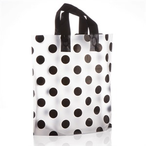 Loop Handle Black Polka Dot Plastic Carrier Bags