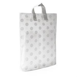 Loop Handle White Polka Dot Plastic Carrier Bags