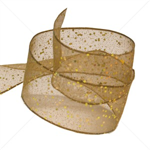 Honey Gold Wired Random Glitter Ribbon