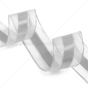 White Sheer and Satin Ribbon with Silver Edge