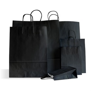 Italian Black Paper Carrier Bags with Twisted Handles
