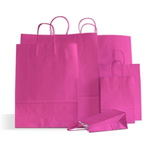 Italian Magenta Paper Carrier Bags with Twisted Handles