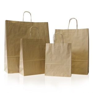 Unribbed Recycled Brown Plain Paper Carrier Bags with Twisted Handles