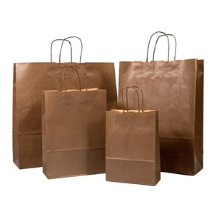 Italian Chocolate Brown Paper Carrier Bags with Twisted Handles