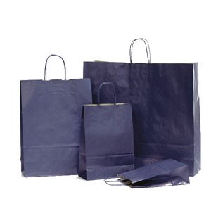 Italian Dark Blue Paper Carrier Bags with Twisted Handles
