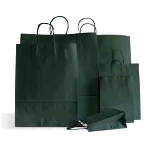 Italian Dark Green Paper Carrier Bags with Twisted Handles