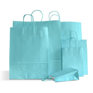 Italian Light Blue Paper Carrier Bags with Twisted Handles