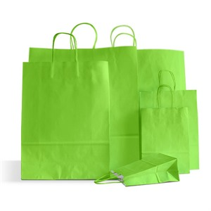 Italian Lime Green Paper Carrier Bags with Twisted Handles