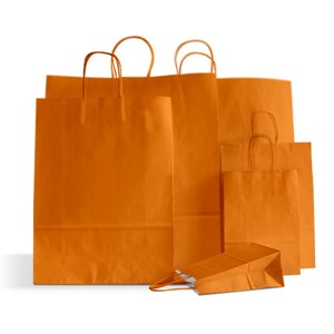 Italian Orange Paper Carrier Bags with Twisted Handles