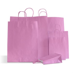 Italian Pink Paper Carrier Bags with Twisted Handles