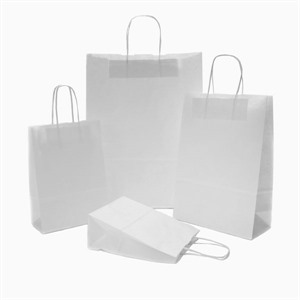 White Paper Carrier Bags with Twisted Handles