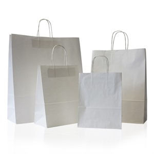 Unribbed White Plain Paper Carrier Bags with Twisted Handles