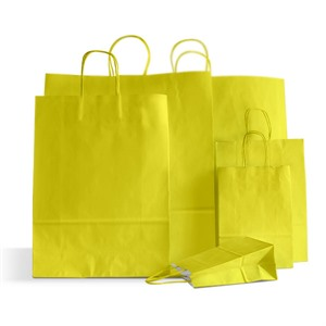 Italian Yellow Paper Carrier Bags with Twisted Handles