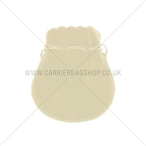 Cream Velvet Jewellery Pouches with Drawstring
