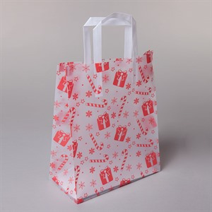 Frosty Candy Cane Plastic Carrier Bags