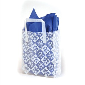Frosty Check Snowflake Plastic Carrier Bags