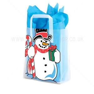 Frosty Jolly Snowman Plastic Carrier Bags