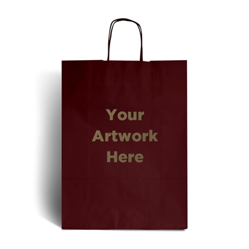 Burnt Red Printed Paper Bags with Twisted Handles