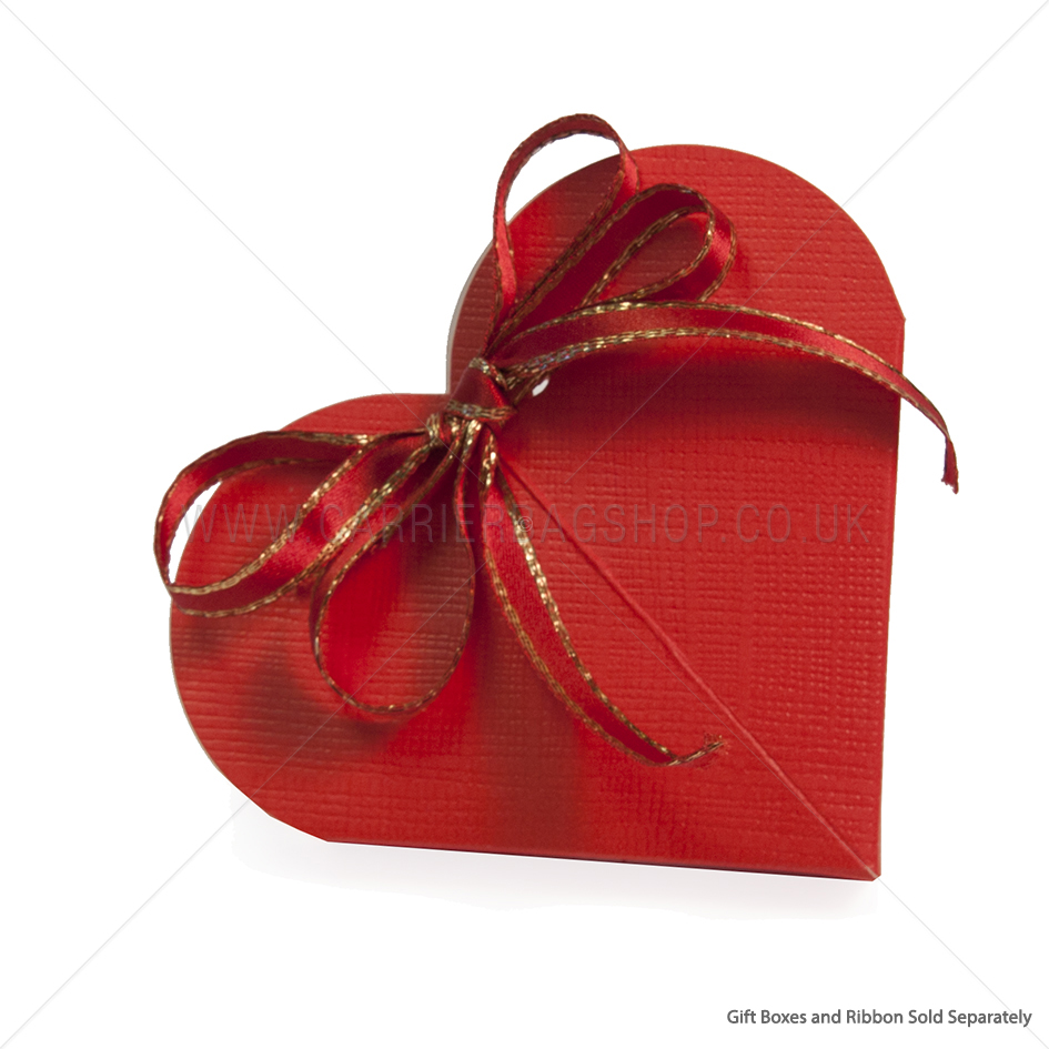 Red Silk Heart Shaped Gift Box | Gift Packaging | Carrier Bag Shop