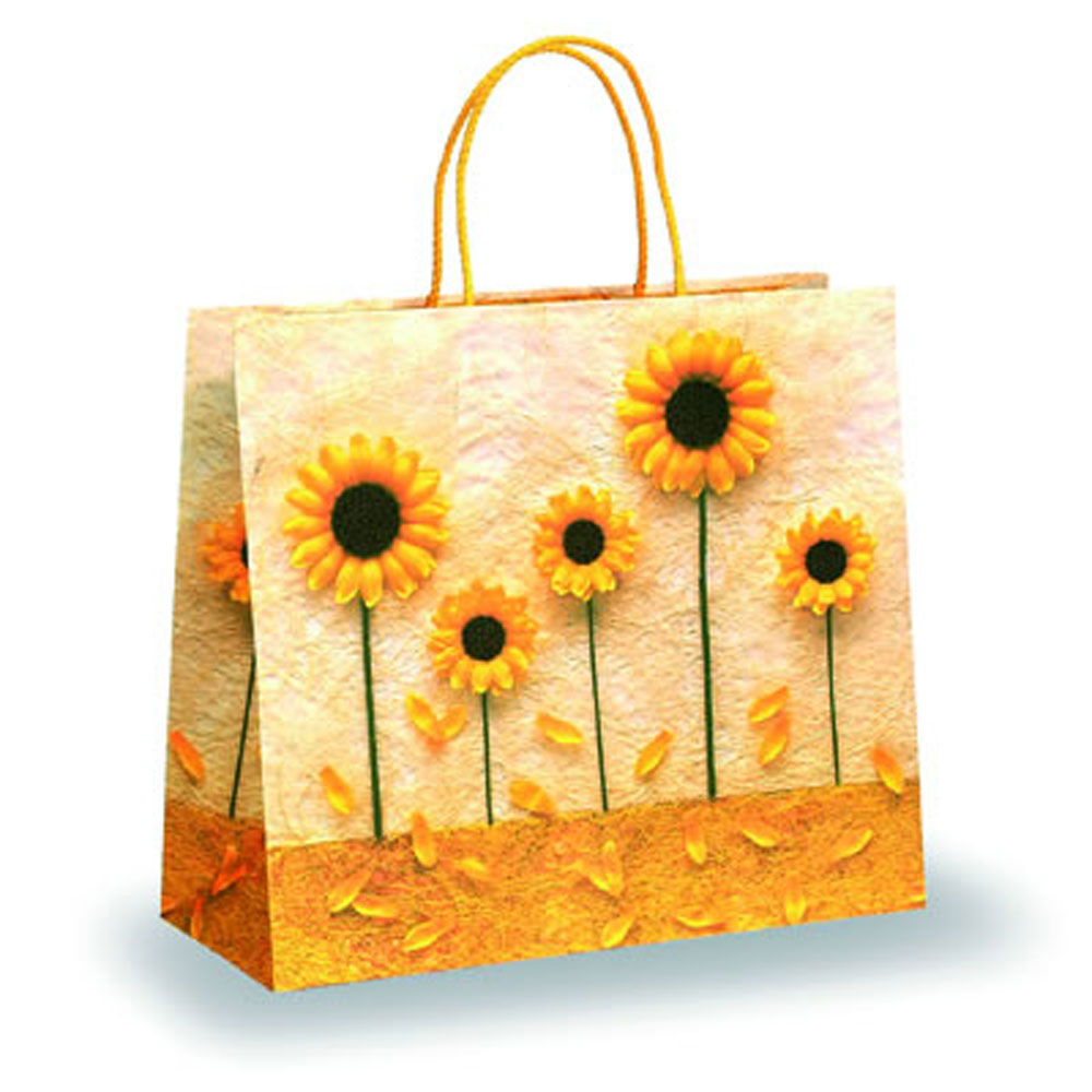 Yellow Petal Design Paper Bags Paper Carrier Bags