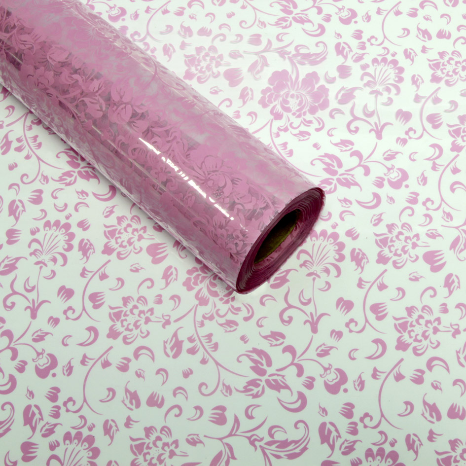 Pink Floral Cellophane Florist Roll Cello Rolls