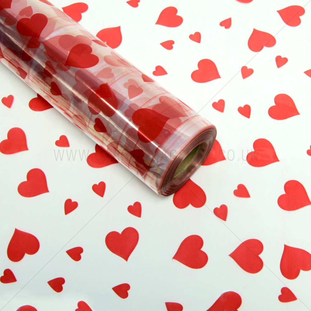 Red Heart Cellophane Florist Roll From Carrier Bag Shop