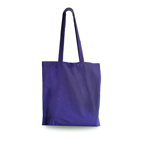 Purple Cotton Shopping Carrier Bags with Long Handle