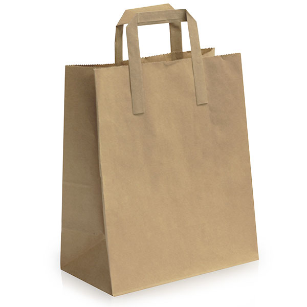 Recycled Brown Bags With Flat Handles Take Away Bags
