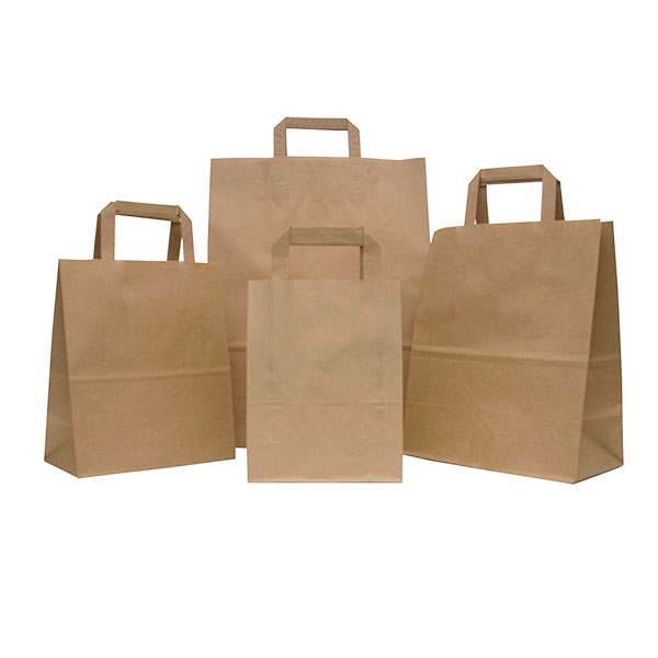 Flat Handle Brown Paper Carrier Bags Paper Bags