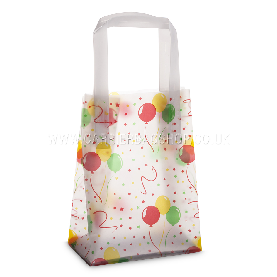 Premium frosted celebration dots print plastic gift bags