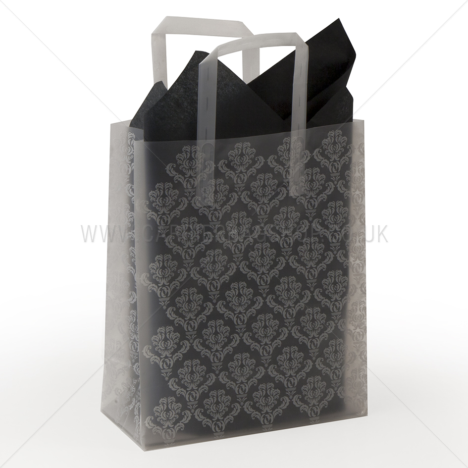 Premium frosted damask print plastic gift bags