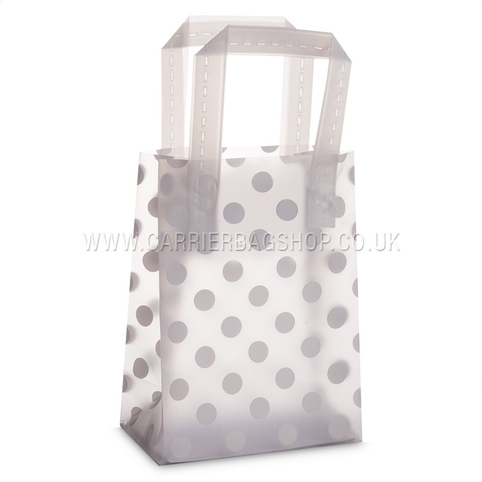 Premium Frosted Dots Print Plastic Gift Bags