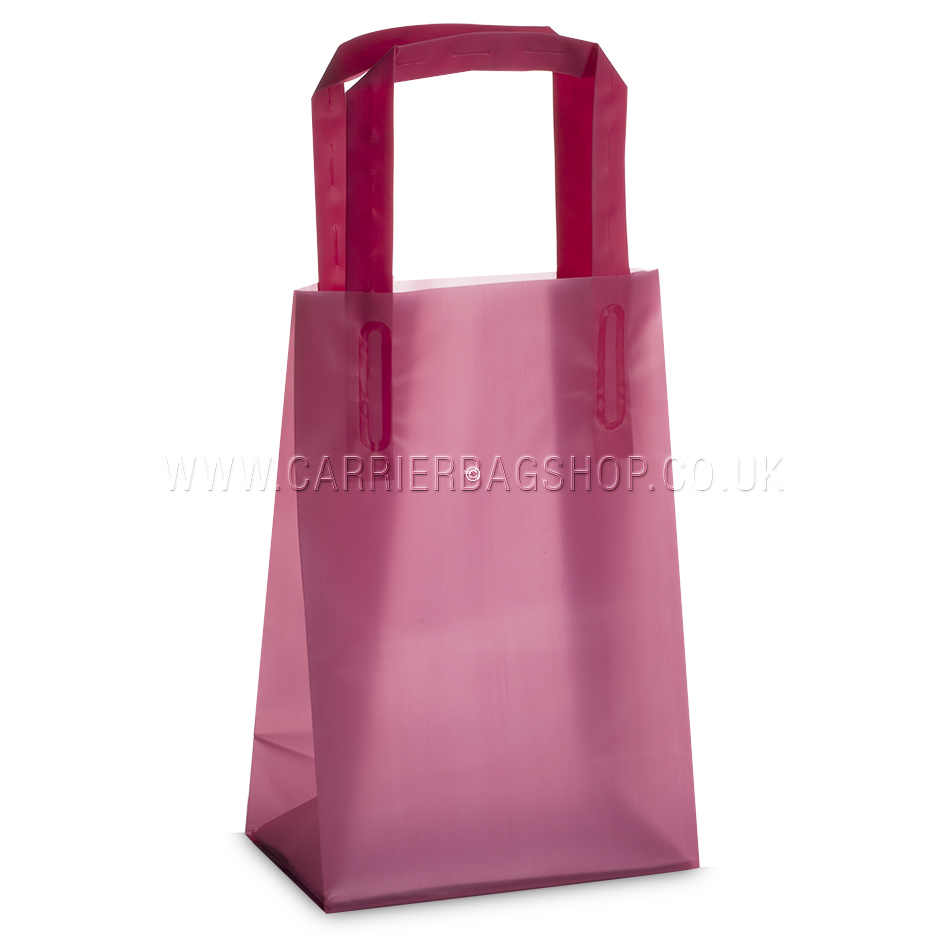 Premium frosted shocking pink plastic gift bags