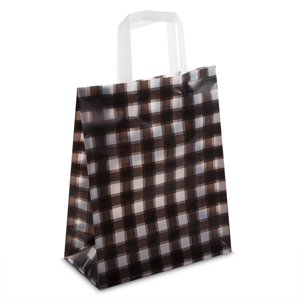 Premium frosted gingham plastic gift bags