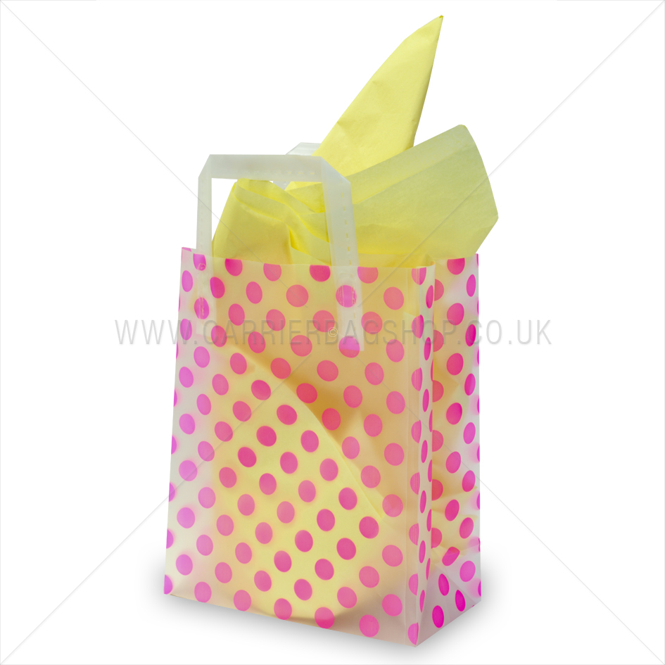 Premium frosted pink dots print plastic gift bags