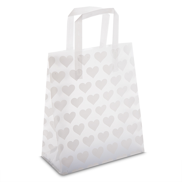 Premium frosted white heart plastic gift bags