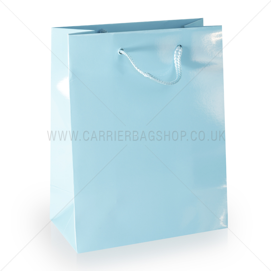Light Blue Gloss Laminated Paper Bag Luxury Bag