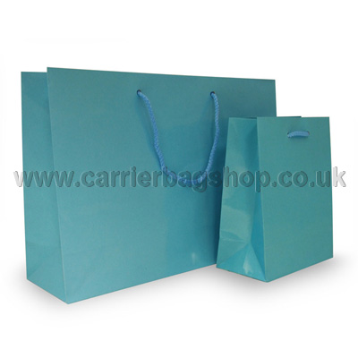 Light Blue Gloss Recycled Paper Bags Luxury Bags
