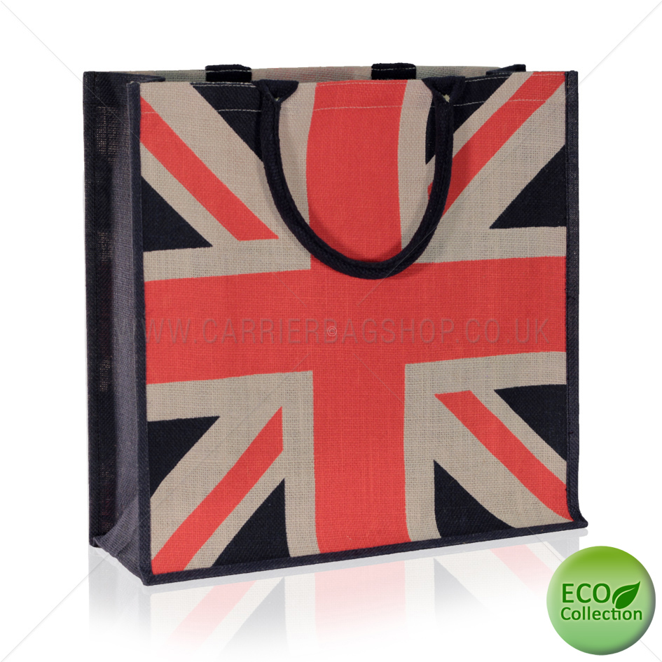 Navy Blue Union Jack Design Jute Bags With Luxury Padded